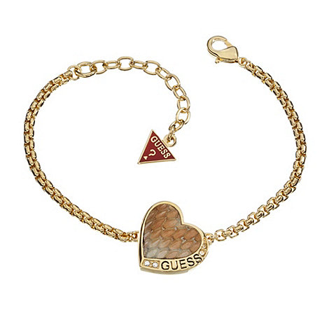 Guess - Gold plated bracelet with a leather python heart
