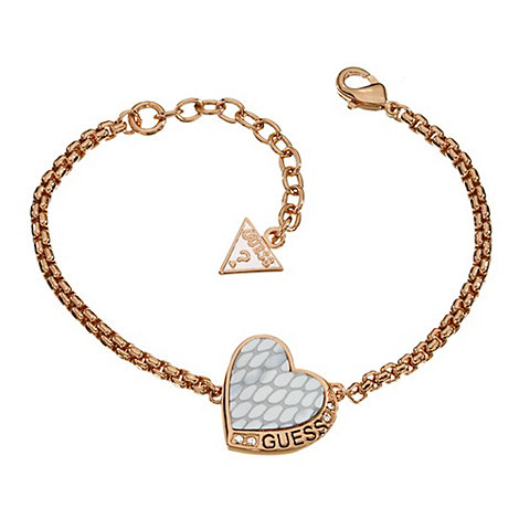 Guess - Rose gold plated bracelet with a white leather heart