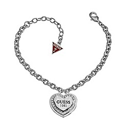 Guess - Rhodium plated bracelet with a classic branded heart