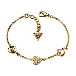 Guess - Gold plated bracelet with three hearts