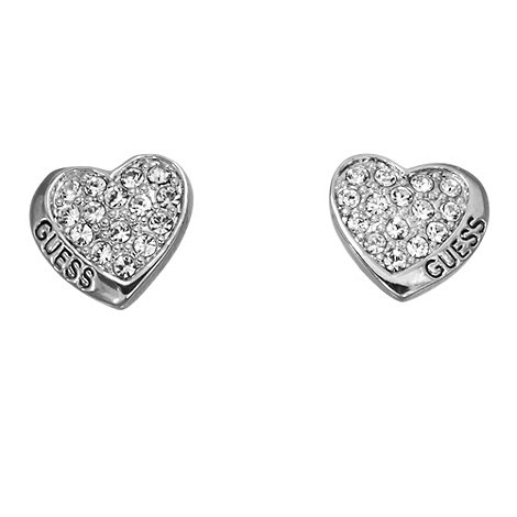 Guess - Rhodium plated small crystal studded heart earrings