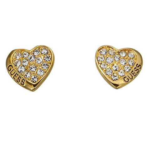 Guess - Gold plated small crystal studded heart earrings