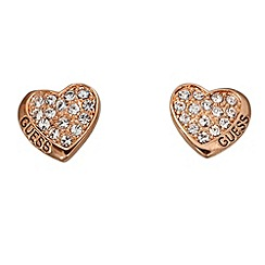 Guess - Rose gold plated pave curved heart stud earrings ube11412