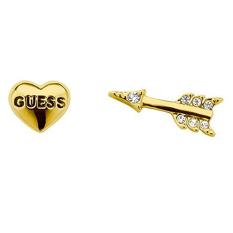 Guess - Gold +Be Mine+ heart & arrow earrings