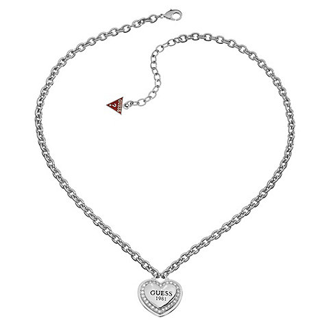 Guess - Rhodium plated necklace with classic branded heart
