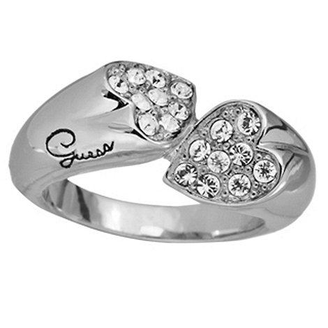 Guess - Rhodium plated crystal double heart ring S/M