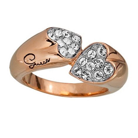 Guess - Rose gold plated crystal double heart ring M/L