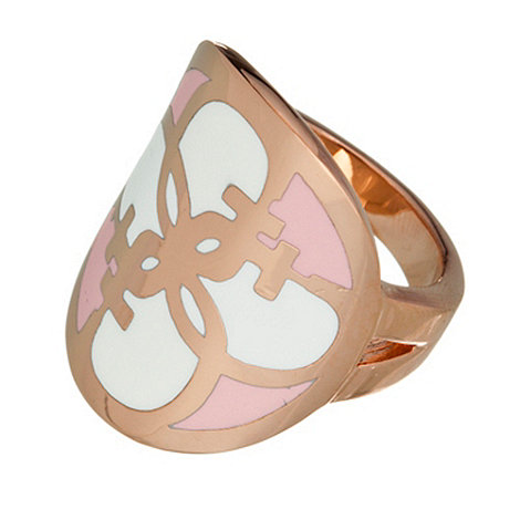 Guess - Rose gold and white disc ring S/M