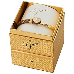 Guess - Gold plated bracelet with a brown snake print leather and gold strap ubs91310