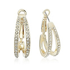 The Collection - Gold pave double hoop earrings