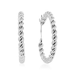 The Collection - Silver plated twisted hoop earrings