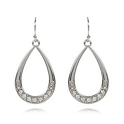 The Collection - Silver stone detail teardrop earrings