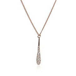 The Collection - Rose gold pave baton necklace