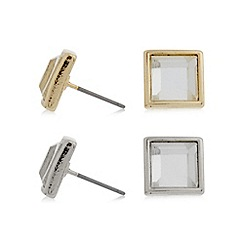 The Collection - Pack of two gold and silver square stud earrings