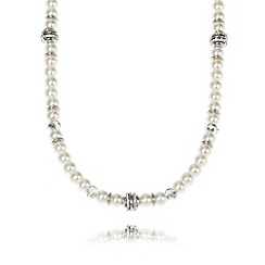 The Collection - Cream long bead necklace