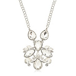 The Collection - Silver plated teardrop stone pendant necklace