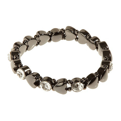 Pilgrim - Dark grey hearts and crystals bracelet