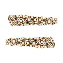 The Collection - Set of two cream pearly crocodile clips
