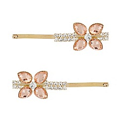 The Collection - Pack of two pink floral embellished hair clips