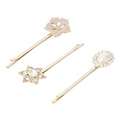 The Collection - Set of three gold plated flower hair slides