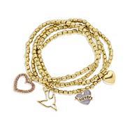 Gold four row mixed charm bracelets