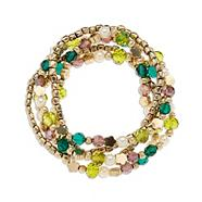 Set of five gold plated multi beaded bracelets