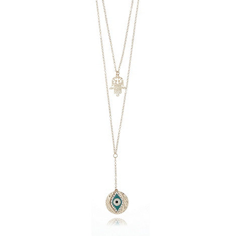 Call It Spring - Gold Hamsa hand and eye charm necklace