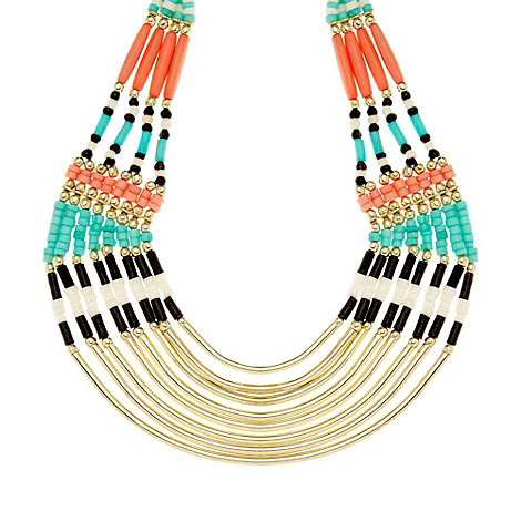 Call It Spring - Turquoise 'Liebowitz' tribal beaded necklace
