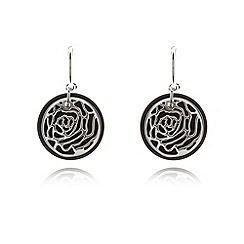 Van Peterson 925 - Designer sterling silver and onyx rose earrings