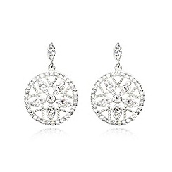 Van Peterson 925 - Designer sterling silver floral pave faceted disc earrings