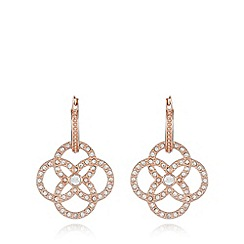Van Peterson 925 - Designer rose gold vermeil pave hoop drop earrings