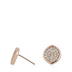 Van Peterson 925 - Designer rose gold vermeil pave leaf stud earrings