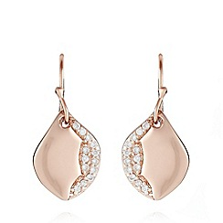 Van Peterson 925 - Designer rose gold vermeil pave leaf drop earrings