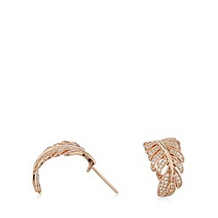 Van Peterson 925 - Designer rose gold vermeil feather earrings