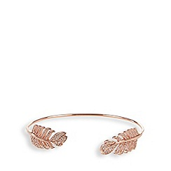 Van Peterson 925 - Designer rose gold vermeil feather cuff bracelet