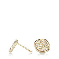 Van Peterson 925 - Designer gold vermeil pave disc earrings