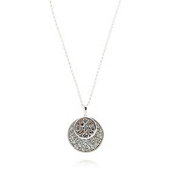 Van Peterson 925 - Designer sterling silver pave disc necklace