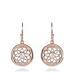 Van Peterson 925 - Designer rose gold vermeil floral disc drop earrings