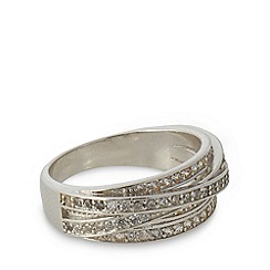 No. 1 Jenny Packham - Designer small sterling silver pave cross bands ring