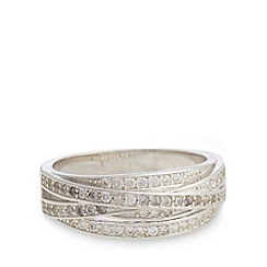 No. 1 Jenny Packham - Designer sterling silver stone cross pave band ring