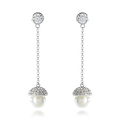 No. 1 Jenny Packham - Designer sterling silver capped pearly drop earrings