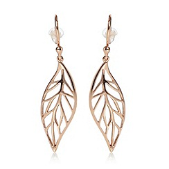 Van Peterson 925 - Designer rose gold plated leaf earrings