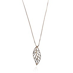 Van Peterson 925 - Designer rose gold vermeil leaf necklace