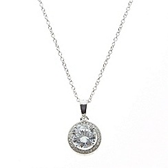 No. 1 Jenny Packham - Designer sterling silver pave circle pendant necklace
