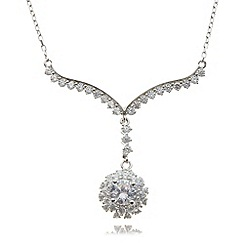 No. 1 Jenny Packham - Designer sterling silver Y flower drop necklace