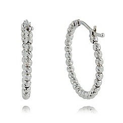 J by Jasper Conran - Designer sterling silver faceted ball hoop earrings