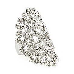 No. 1 Jenny Packham - Designer silver plated floral pave faceted ring S/M