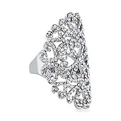 No. 1 Jenny Packham - Designer silver plated floral pave faceted ring M/L