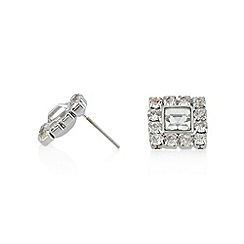 No. 1 Jenny Packham - Designer silver plated square stone stud earrings