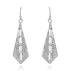 No. 1 Jenny Packham - Designer silver plated drop spade pave embellished earrings